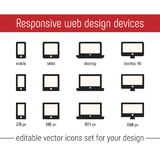 Responsive icon vector images. Flat responsive design icons vector. Responsive icon vector images set for website, app. Design. Responsive design icons vector Stock Photo