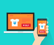 Responsive internet shop design, online store web site page showed on laptop and smartphone in hand, ecommerce shop Royalty Free Stock Photos