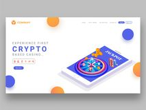 Responsive landing page design with crypto based casino game app. In smartphone for jackpot vector illustration
