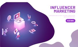 Responsive landing page design for Influencer Marketing concept. With isometric illustration of laptop and business equipments stock illustration