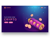 Responsive landing page design with isometric slot machine and c. Rypto coins vector illustration