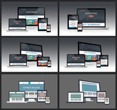 Responsive Screen Mockups. Easy editable responsive screen mockups with multiple device Royalty Free Stock Photo