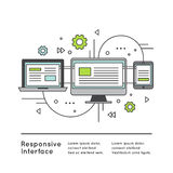 Responsive User Interface Web Design. Vector Icon Style Illustration of Responsive User Interface Web Design Royalty Free Stock Photography