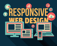 Responsive Web Design. Concept illustration with text and icons royalty free illustration