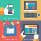 Responsive web design cross browser compatibility development programming. PC mobile phone device hands idea planning сoncept icons set modern trendy flat Royalty Free Stock Image