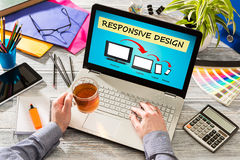 Responsive web design. Designer's desk with responsive web design concept Royalty Free Stock Photography