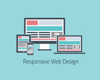 Responsive web design development vector flat styl stock illustration