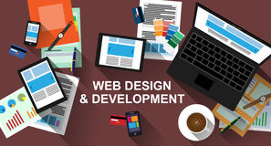 Responsive Web Design and Development Workspace with long shadows Stock Images