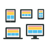 Responsive web design on devices Stock Photo