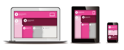 Responsive web design. On different devices Stock Photo