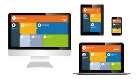 Responsive web design. On different devices vector illustration
