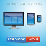 Responsive web design displayed on different devic. Es vector Stock Photos