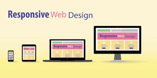 Responsive web design. In electronic devices Royalty Free Stock Photos