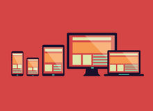 Responsive web design in electronic devices. Stock Images