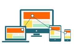 Responsive Web Design. On electronic devices showing website on screen Royalty Free Illustration