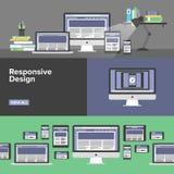 Responsive web design flat banners. Flat banner set of responsive design web interface, creative studio workflow, html website coding for desktop and mobile vector illustration