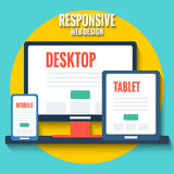 Responsive web design, flat illustration with desktop, tablet and smartphone Royalty Free Stock Image