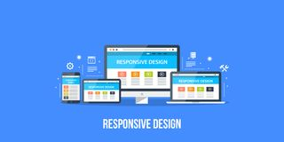 Responsive web design. Flat style illustration. Concept of responsive web design. Digital devices displaying responsive website in different formats. Flat stock illustration