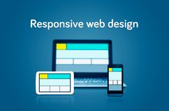 Responsive web design layout devices Stock Photos