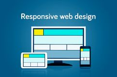 Responsive web design layout devices Stock Photography