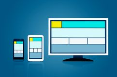 Responsive web design layout devices Stock Photo