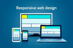 Responsive web design layout on different devices. Set on dark background Stock Photo