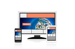 Responsive web design layout on different devices. Royalty Free Stock Photo
