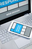 Responsive web design on mobile devices. Laptop and tablet pc royalty free stock image
