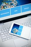 Responsive web design on mobile devices. Laptop and tablet pc royalty free stock photos