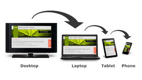 Responsive web design. On mobile devices phone, laptop and tablet pc Stock Photography