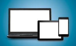 Responsive web design. On mobile devices phone, laptop and tablet pc Royalty Free Stock Image