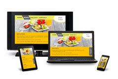 Responsive web design. On mobile devices phone, laptop and tablet pc Stock Image