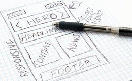 Responsive Web Design Sketch. Sketch of a responsive web design sketch on graph paper stock photos