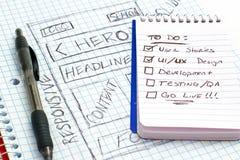 Responsive Web Design Sketch Todo List. Sketch of a responsive web design sketch on graph paper with a to do list stock illustration