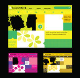 Responsive web design templates in various colors stock illustration