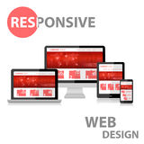 Responsive Web Design on Various Device. With reflection Stock Photography