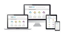 Responsive web design vector illustration, white modern web site Royalty Free Stock Image
