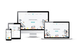 Responsive web design and website development vector devices Royalty Free Stock Photography