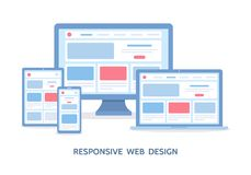 Responsive web design. The website is open on computer, laptop, tablet and smartphone. Flat vector illustration vector illustration