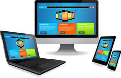Responsive web design. Responsive website template on multiple devices royalty free illustration