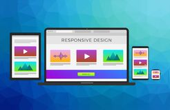 Responsive web site design concept with flat electronic devices: laptop computer, tablet, mobile phone and smart. Responsive web site design concept with flat vector illustration