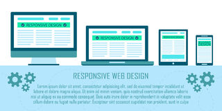 Responsive web site design flat concept in electronic devices: computer, laptop, tablet, mobile phone. Royalty Free Stock Photography