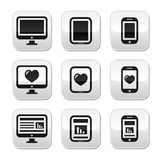 Responsive website design - computer screen, mobile, tablet buttons set Stock Image