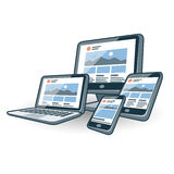 Responsive website design on different electronic devices. Illustration of responsive website design on different screen devices with smartphone, laptop, monitor Stock Image