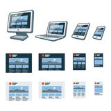 Responsive website design on different electronic devices Stock Images