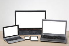 Responsive website design. Multiple devices showing blank screen Royalty Free Stock Photo