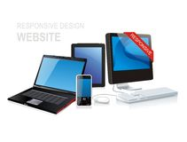 Responsive website design. White isolated responsive website design Royalty Free Stock Image