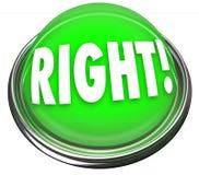 Respuesta correcta que destella ligera del botón verde derecho Foto de archivo