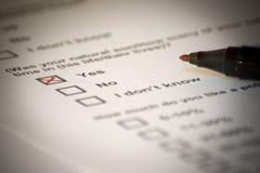 Respuesta positiva en cuestionario Imágenes de archivo libres de regalías