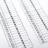 Respuestas correctas de la prueba, Fotografía de archivo